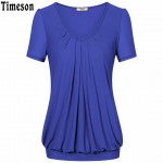 Summer Tops Women Short Sleeve V-Neck Dressy Tunic Tops Front Pleated Classic T shirt Candy Color Women Casual Plus Size T-Shirt