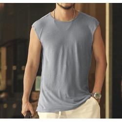 Summer new linen men sleeveless t-shirt casual men's tank vest Loose Men Tank Top Fitness Singlets Brand Cotton Mens T-Shirt