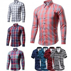 Summer/Autumn Plaid Shirts Thin Slim Fit Men Shirt Short Sleeve/long sleeve Plaid Shirts British Style Casual Multicolor Shirts