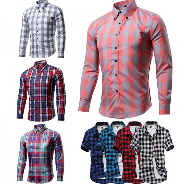 Summer/Autumn Plaid Shirts Thin Slim Fit Men Shirt Short Sleeve/long sleeve Plaid Shirts British Style Casual Multicolor Shirts