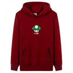 Super Mario Embroidery Hoodies Men Fleece Print Pattern Fashion Style Customized Black 3XL Pullover Winter Tracksuit Sweatshirts