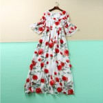 Sweet Dress New New 3D Red Flowers Printed Women 2016 Summer Short Flare Sleeve High Quality White Dress Plus Size XXL