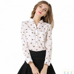 Sweet Lovely Dog Print Long Sleeve Women Blouse Stand Collar Casual Ladies Shirt Plus Size S-XL CC2896