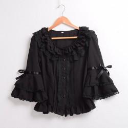 Sweet Womens Tops and Blouses Vintage Palace Flare Sleeve Lolita Chiffon Ruffles Lace Shirt