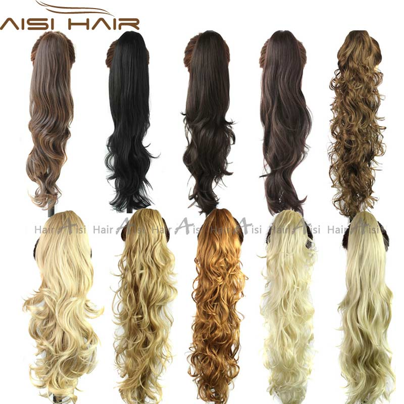 Synthetic Long Curly Wavy Claw Drawstring Clip False Ponytail