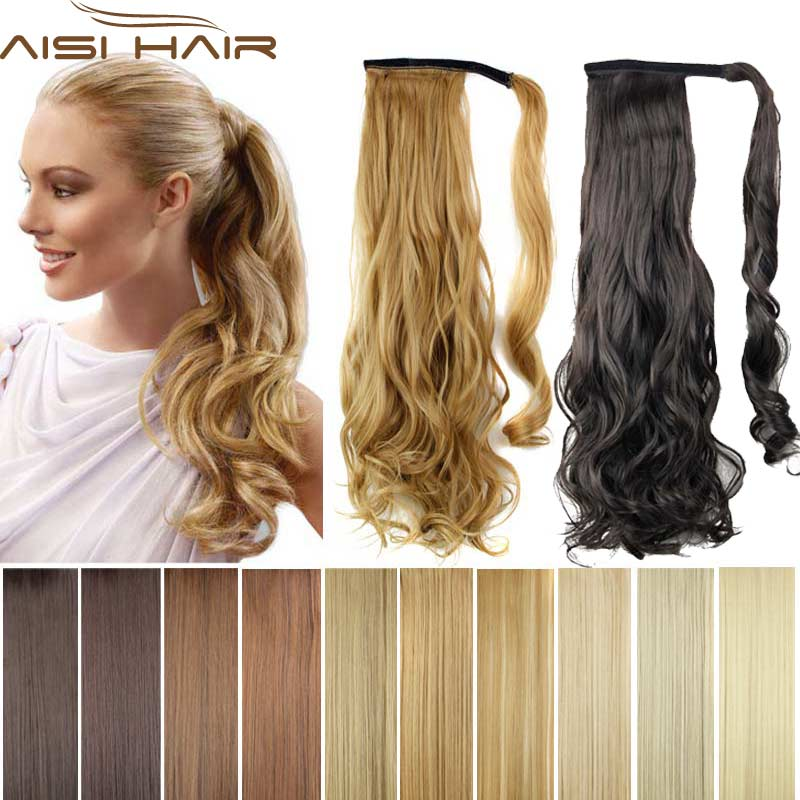 Synthetic Long Wavy Clip In Wrap Around Ponytail Fake Hair Extension