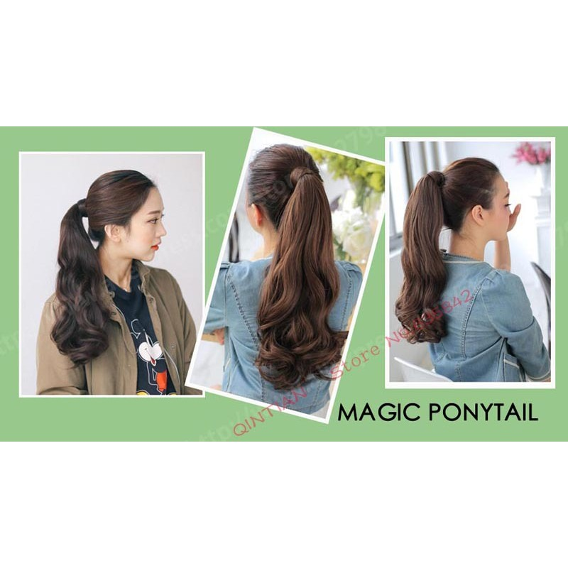Synthetic Wrap Around Ponytail Clip In On Hair Extensions Invisible
