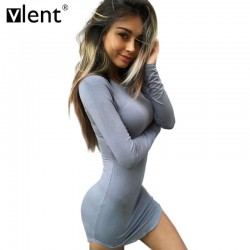 Sytiz Bodycon Women Winter Dress Long Sleeve Gray Mini Vestidos Womens Sexy Pink Plus Size Dresses Short Party Night Club Dress