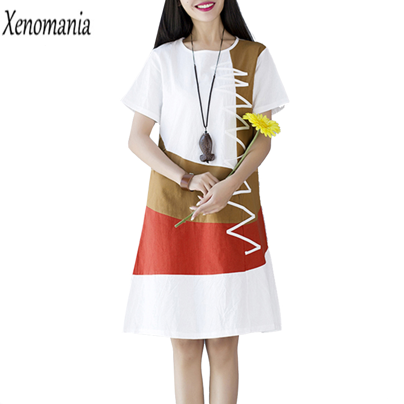 a0d0679ee6 T Shirt Dress Robe Femme Boho Dress Plus Size Dresses Brazil 2017 Summer  Vestidos Ukraine Patchwork Linen Vintage Ethnic Clothes