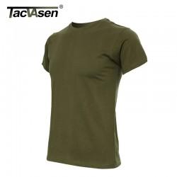 TACVASEN Summer Tactical T-shirts US Army Physical T-shirt military short-sleeve T-shirt 100% cotton wear TD-018