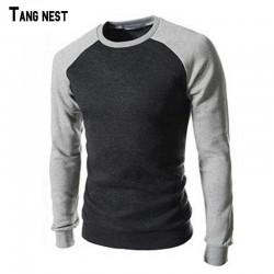 TANGNEST Men Sweatshirt 2017 New Spring&Autumn Men's Casual Patchwork O-neck Sweatshirt Pullover Slim Fit Fleece For Man MWW543