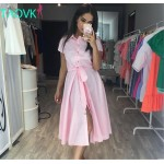 TAOVK Russian style design new 2016 women Summer  dress Pink long section pink dress shirt collar single-breasted dresses