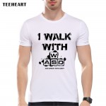 TEEHEART I walk with WASD Funny T shirt Men Cool Casual Style Short Sleeve Round Neck Video Games Top Tees pa757