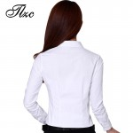 TLZC Beauty Office Lady White Cotton Shirts  Size S-2XL Good Quality Fashion Clothing 2017 Career Women Casual Blouses