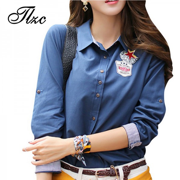 TLZC Lady Casual Shirts Orange / Blue Color Women Fashion Blouse Size S-2XL Women Tops Turn Down Collar Camisa Feminina