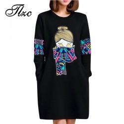 TLZC Mid-Long Length Dress Spring Lady Black Dress Size M-4XL Korean Style Women Straight Dress Printed Pattern