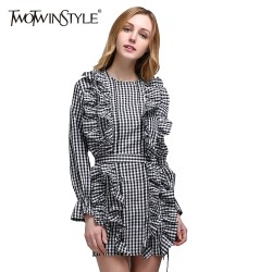 TWOTWINSTYLE 2017 Spring Women Plaid Mini Dress Long Sleeve Flare Cuff Bandage Lace Up Ruffle Short Dresses Casual Tunic Blouse