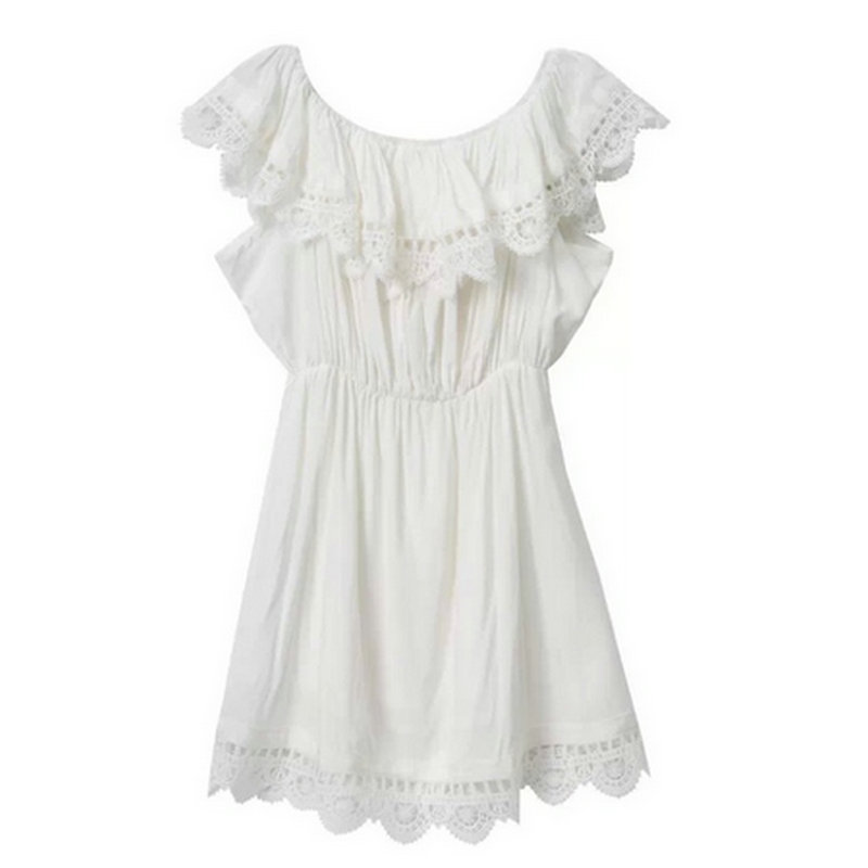 3c92823c Tangada Fashion women Elegant Vintage sweet lace white Dress stylish sexy  slash neck casual slim beach Summer Sundress vestidos