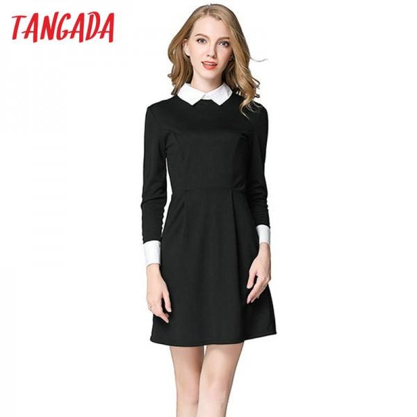 Tangada Winter School Dresses Fashion Women Office Black Dress With White Collar Casual Slim Vintage Brand Vestidos Plus Size