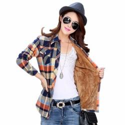 Tengo Fashion Winter Autumn Women Shirts Thick Velvet Long-Sleeved Coat Women Blouses Plaid Flannel Female Women Tops