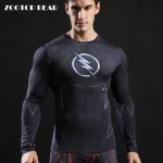 The Flash T shirt Men Compression T-shirts Fitness Crossfit T shirt 2017 Long Sleeve Camiseta Novelty Funny Tee Male ZOOTOP BEAR