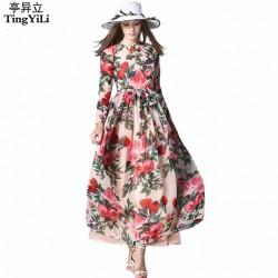 TingYiLi Floral Maxi Dress Long Sleeve Printed Chiffon Dress Bohemian Beach Long Dress Women Summer Dress 2016