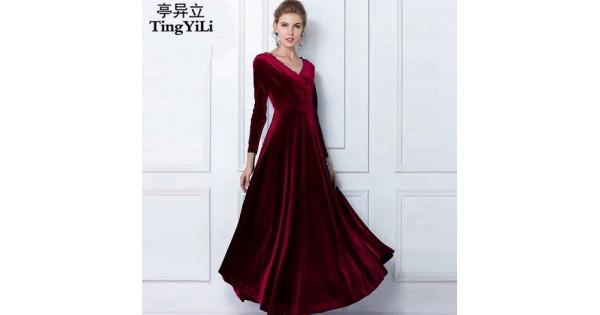 b003a1257f7 Red Velvet Long Sleeve Maxi Dress - Photo Dress Wallpaper HD AOrg