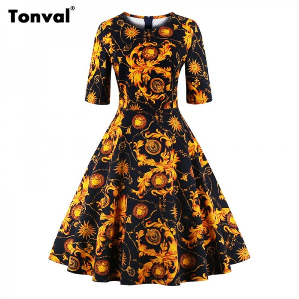 Tonval Half Sleeve Vintage Tunic Dress Women Gorgeous Floral Retro Audrey Hepburn Style Plus Size Summer Swing Dresses