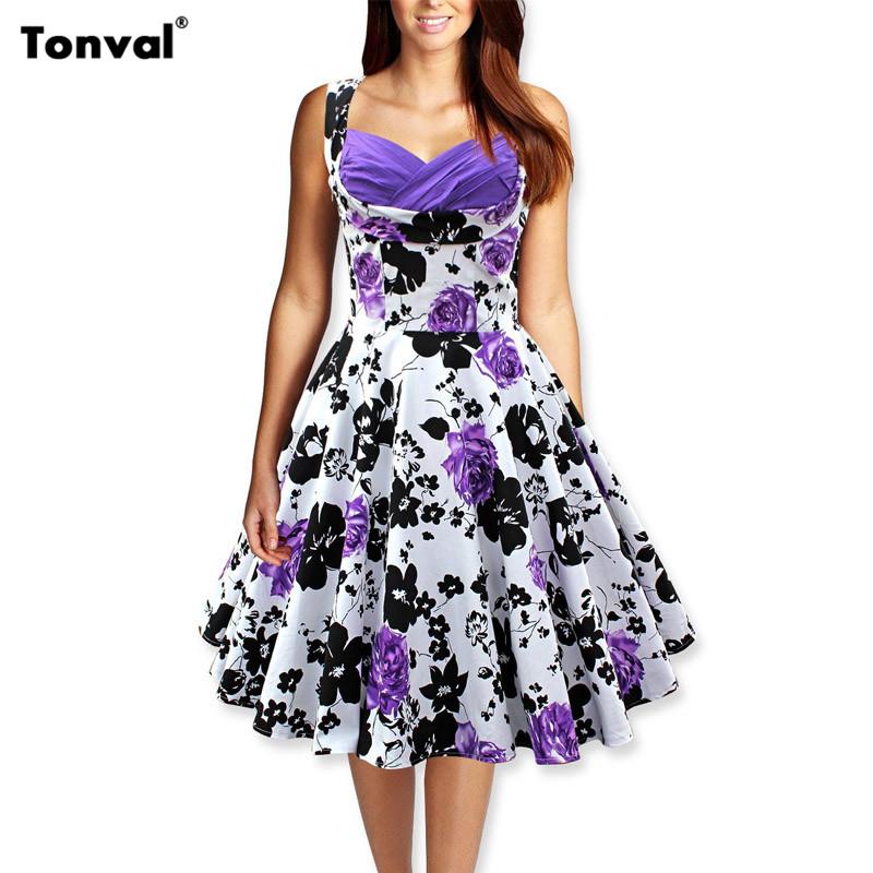 b39754b9b8ab Tonval Women 50s Vintage Floral Swing Dress Audrey Hepburn Tunic Elegant  Rockabilly Dresses Evening Party Sexy Summer Vestidos