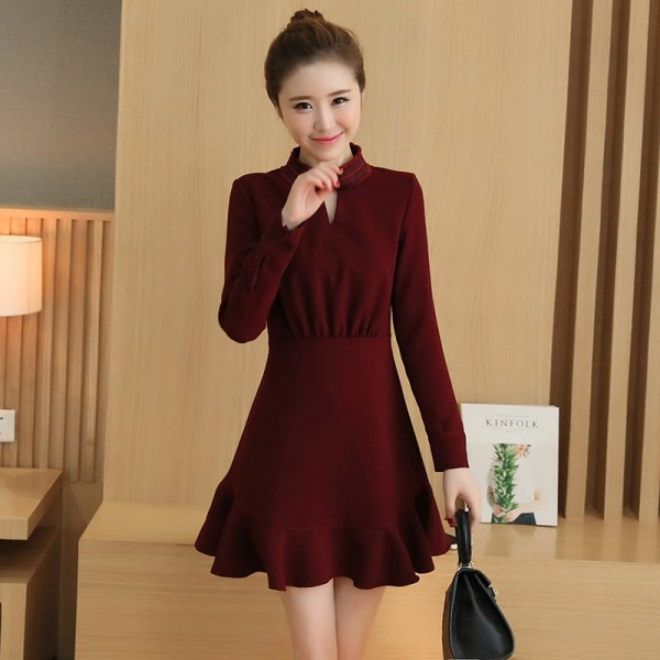 Top qulity 2016 autumn Korean vintage high waist Wine red women Slim dress sexy cute office chiffon High-necked ladies dresses