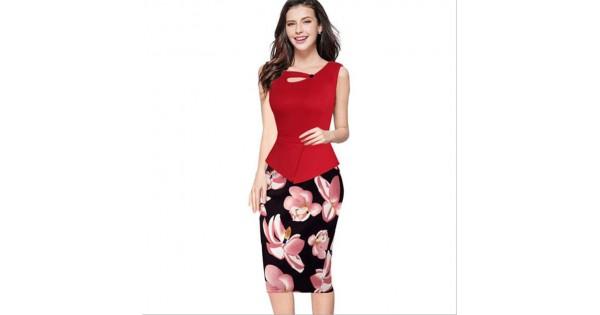 Top Selling Brand New Work Dress Office Half Part Peplum Dress Super