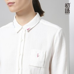 Toyouth 2017 New Arrival Women Casual Cotton Solid Shirts Autumn Embroidered Turn-down Collar Blouses Shirts