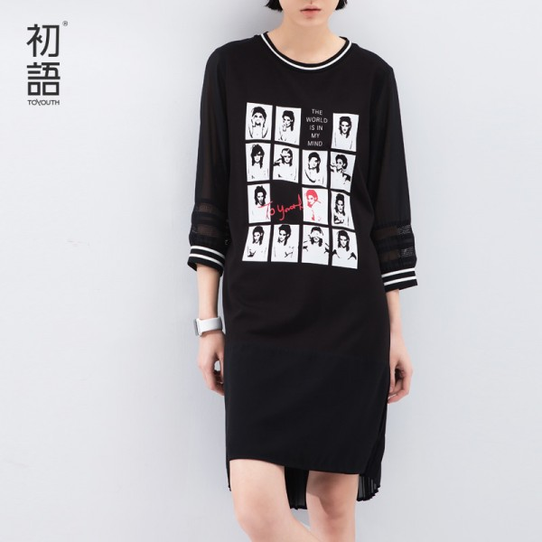 Toyouth 2017 Spring Summer New Arrival Printed Character Gentle Chiffon Three Quarter O-Neck Cotton Lace Casual Women Dresses