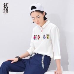 Toyouth Blusas Women 2017 Autumn Long Sleeve Turn Down Collar Cartoon Embroidery Fashion White Shirt