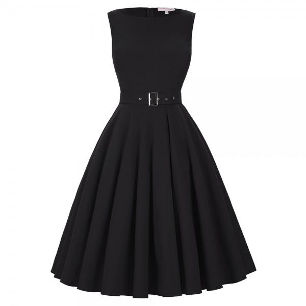 Tunic Black 50s Dress Plus Size Women Summer Retro Casual Party Robe