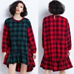 UOVXI Women Plus Size Dress Autumn Cotton Plaid Print Blouse Fashion Female Big Size Loose Patchwork Red Green O-Neck Tops&Tees