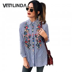 VESTLINDA Casual Women Blouse Shirt 2017 Floral Embroidery Blusas Long Sleeve Turn Down Collar Tops Stripe Femme Loose Blouse