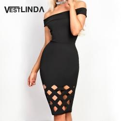 VESTLINDA New Off Shoulder Sexy Evening Party Dresses Women Slash Neck Black Dress Vestidos Robe Femme Hollow Out Bodycon Dress