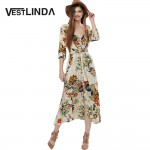 VESTLINDA Vintage Dress Allover Floral Print Elastic Waist Split Long Dress V Neck 3/4 Sleeve Robe Femme Women 2017 Summer Dress