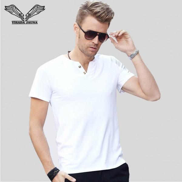 VISADA JAUNA New Arrival Fashion V Neck Cotton Men T Shirt Casual Style Short Sleeve Solid Slim Fitness Male T-Shirts XXXL N3