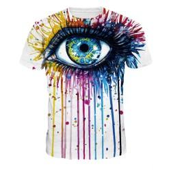 VMT 2017 Classic model 3d T-shirt  men&women 3d funny print colorful crying eyes  thin style casual Tshirts