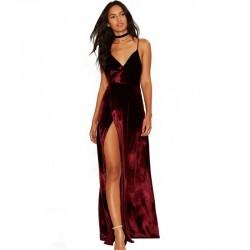 Velour Vintage Velvet Wine Red Empire Spaghetti Strap Draped V Neck Women Pleuche Sleeveless Ankle Length Maxi Dress