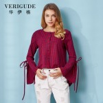 Veri Gude 2017 Plaid Blouse Women Loose Shirt  Long Sleeve Flare Sleeve 100% Cotton shirt Short Front Long Back Girl Gift New