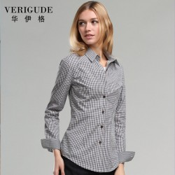 Veri Gude Spring and Fall Women Plaid Blouse Long Sleeve  Plaid Shirt Free Shipping Slim Fit  Small pattern Fashion Suitful