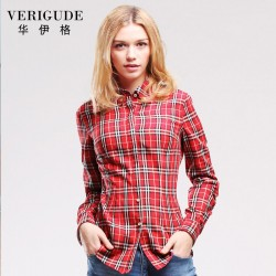 Veri Gude Spring and Fall Women Plaid Blouse Long Sleeve  Plaid Shirt Free Shipping Slim Fit Work Street Style Fashion Suitful