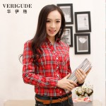 Veri Gude Spring and Fall Women Plaid Blouse Long Sleeve  Plaid Shirt Free Shipping Slim Fit Work Street Style