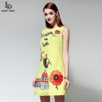 Vestidos 2015 Tank Sleeveless Mini Dress Women Autumn Gold Sequin Appliques Beading Character Pattern Casual Pencil Dress Yellow