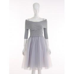 Vestidos 2015 Women Autumn Knitted Tutu Dress Fashion Collar Strapless Crossover Splicing Fake Two Piece Dresses
