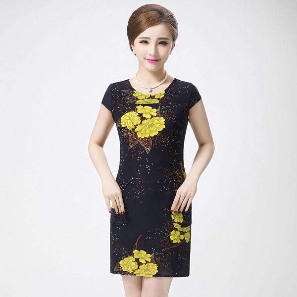Vestidos L-5XL 2017 New Fashion Women Summer dress Slim Tunic Milk Silk print Floral dresses Casual Plus Size sexy bodycon dress