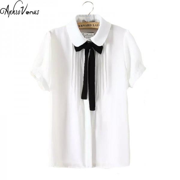 Vetement Femme 2018 New Style Turn-Down Collar Short-Sleeve Chiffon Shirts Women Blouses Ladies Office Shirt Camisa Feminina